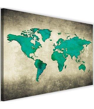 Schilderij Wereldkaart in het groen, 2maten, groen/beige