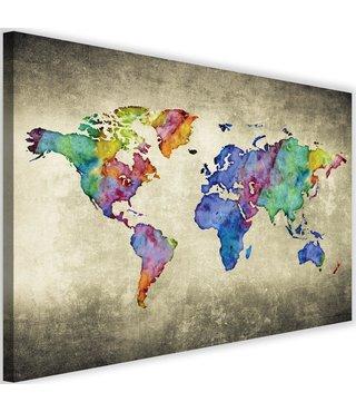 Schilderij Kleurige wereldkaart, 2 maten