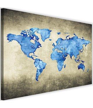 Schilderij Wereldkaart in het blauw, 2 maten, blauw/beige