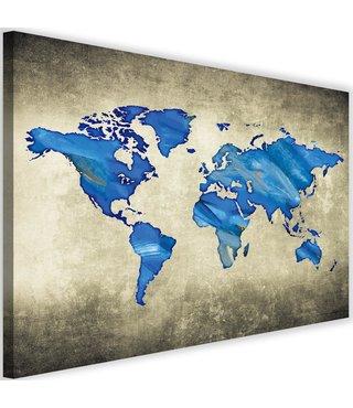 Schilderij , wereld in Blauwe tinten , 2 maten , wanddecoratie , Premium print