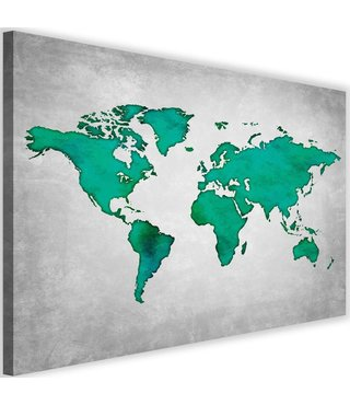 Schilderij , wereld in Groene tinten , 2 maten , Groen grijs , wanddecoratie , Premium print
