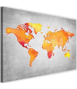 Schilderij , wereld in Oranje tinten , 2 maten , Oranje grijs , wanddecoratie , Premium print