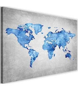Schilderij , Blauwe kaart van de wereld , 2 maten , blauw grijs ,wanddecoratie , Premium print