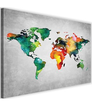 Schilderij , Gekleurde Wereldkaart 3 , 2 maten , multikleur , wanddecoratie , premium print
