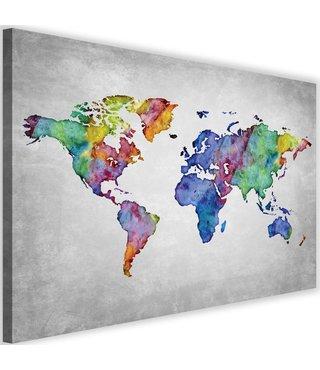 Schilderij , Wereld in kleur 2 , Wereldkaart , 2 maten , wanddecoratie ,Premium print