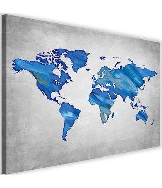 Schilderij , Wereld in blauw tinten , Wereldkaart , 2 maten ,wanddecoratie ,Premium print