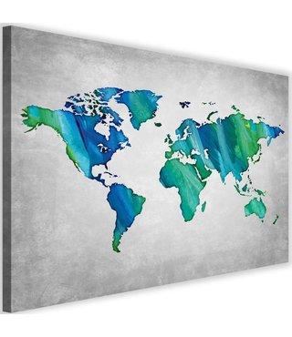 Schilderij , Wereld in blauw groen , Wereldkaart , 2 maten , wanddecoratie , Premium print