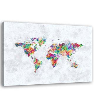 Schilderij , Gekleurde Wereld ,Wereldkaart , 2 maten , multikleur , wanddecoratie
