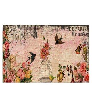 Schilderij Kaar uit Parijs met vogels, 4 maten