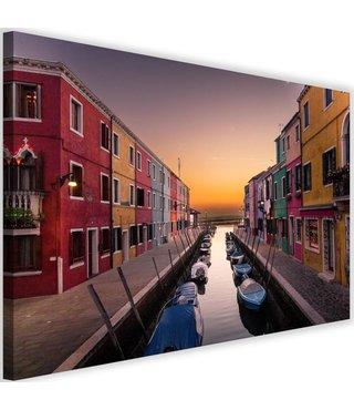Schilderij Gracht met gekleurde huizen, 2 maten