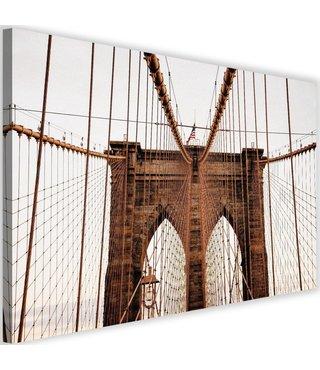 Schilderij Brooklyn bridge, 2 maten, bruin/beige
