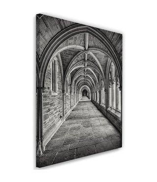 Schilderij Gang in een kathedraal, 2 maten, zwart/wit
