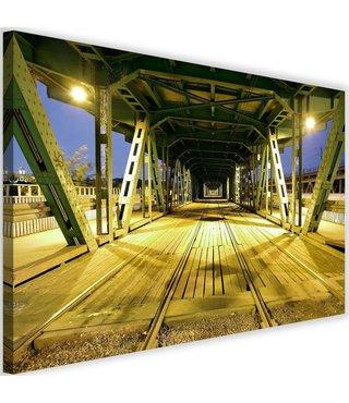 Schilderij Lange brug met spoor, 2 maten
