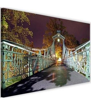 Schilderij Oude brug met lantaren in een park, 2 maten