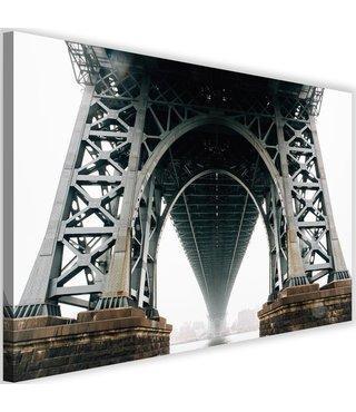 Schilderij Onderkant Brooklyn bridge, 2 maten, wit/grijs