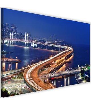 Schilderij Gwangan brug bij nacht, 2 maten