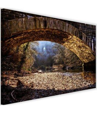 Schilderij Mysterieuze plek onder een brug, 2 maten