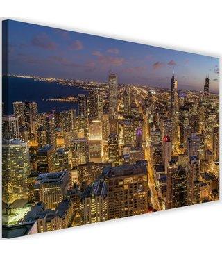 Schilderij Chicago bij nacht, 2 maten