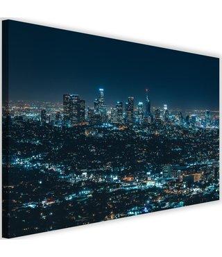 Schilderij Stad bij nacht, 2 maten, zwart/blauw