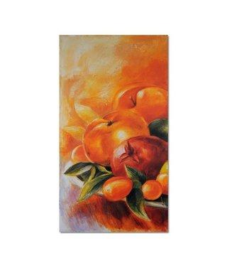 Schilderij  Fruit in een schaal, 4 maten, oranje/groen