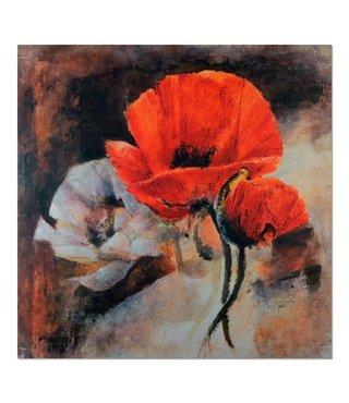 Schilderij Geschilderde bloemen, 2 maten, bruin/wit/rood