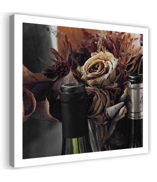 Schilderij Gedroogde bloemen achter flessen, 80x80cm