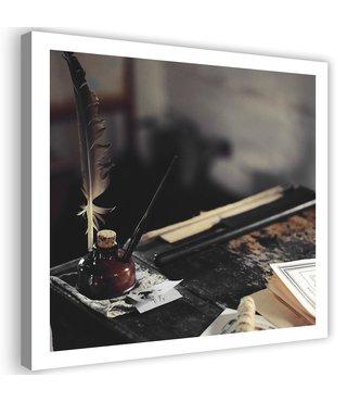 Schilderij Ouderwets schrijven, 80x80cm