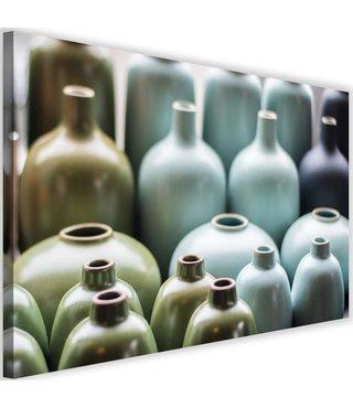 Schilderij Pastel kleurige vazen, 2 maten