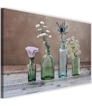 Schilderij Vier vazen met bloemen, 2 maten, groen/bruin