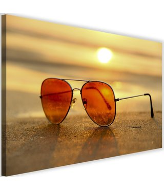 Schilderij Zonnebril met zon ondergang, 2 maten