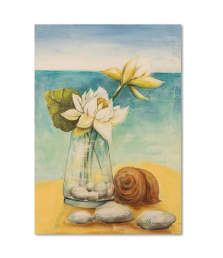 Schilderij Bloemen in een vaas op het strand, 2 maten