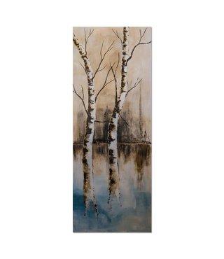 Schilderij Twee bomen aan het water, 2 maten, bruin/beige
