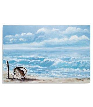 Schilderij Boot op het strand, 2 maten, blauw/bruin