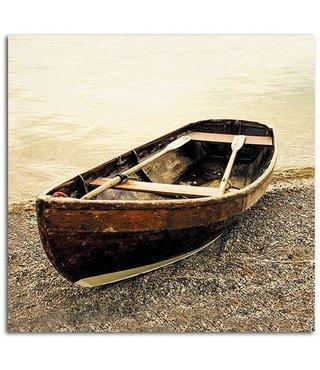 Schilderij Boot op het strand, 80x80cm, beige/bruin