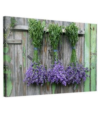 Schilderij Hangende Lavendel, 2 maten, bruin/paars/groen