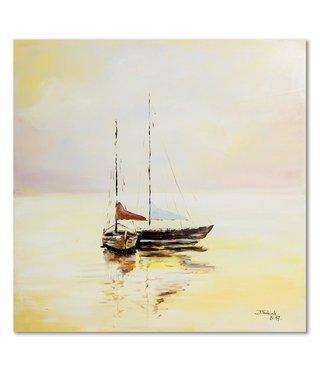 Schilderij Twee zeilboten, 80x80cm, beige/bruin/rood