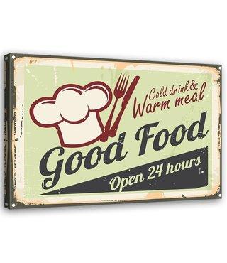 Schilderij Uithangbord Good food, 2 maten, zwart/groen