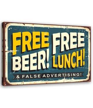 Schilderij Uithangbord Free Beer, 2 maten, geel/beige