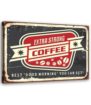 Schilderij Uithangbord Coffee, 2 maten, zwart/rood/beige