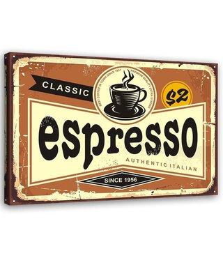 Schilderij Uithangbord Espresso, 2 maten, bruin/beige