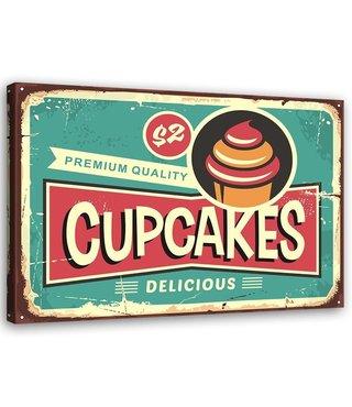 Schilderij Uithangbord Cupcakes, 2 maten, groen/rood