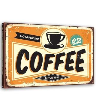 Schilderij Uithangbord Coffee, 2 maten, zwart/oranje