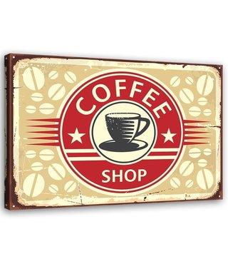Schilderij Uithangbord Coffee shop, 2 maten, rood/beige