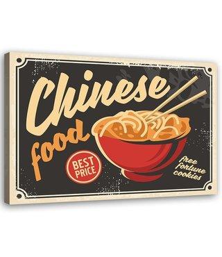 Schilderij Uithangbord Chinese food, 2 maten, zwart/rood/beige
