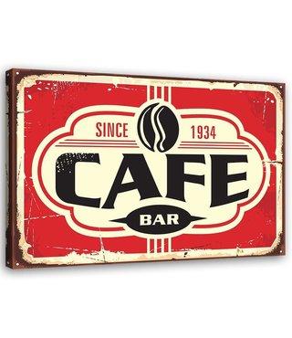 Schilderij Uithangbord Café bar, 2 maten, rood/beige