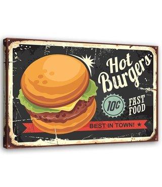 Schilderij Uithangbord Hot burgers, 2 maten