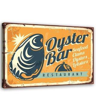 Schilderij Uithangbord Oyster bar, 2 maten, zwart/oranje