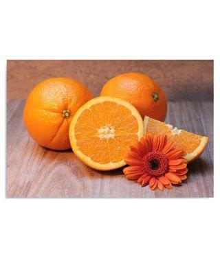 Schilderij Sinaasappel met oranje madeliefje, 4 maten, oranje/bruin