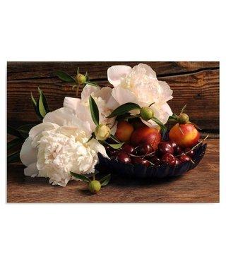 Schilderij Bloemen en fruit, 4 maten, Wit-Bruin (wanddecoratie)