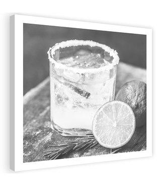 Schilderij Drankje met Limoen, 80x80cm, zwart/wit